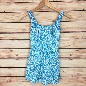 Vintage 90s Skirted One Piece Blue Floral Swimsuit